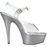 Zilver glitter 15 cm Pleaser DELIGHT-608HG paaldans schoenen met hoge hakken