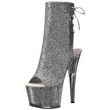 Zilver glitter 18 cm ADORE-1018G dames enkellaarsjes met plateauzool
