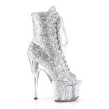Zilver glitter 18 cm ADORE-1021G dames enkellaarsjes met plateauzool