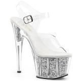 Zilver glitter 18 cm Pleaser ADORE-708G paaldans schoenen met hoge hakken