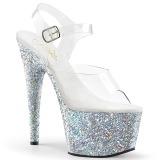 Zilver glitter 18 cm Pleaser ADORE-708LG paaldans schoenen met hoge hakken