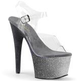 Zilver glitter 18 cm Pleaser ADORE-708OMBRE paaldans schoenen met hoge hakken
