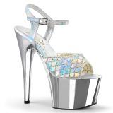 Zilver glitter 18 cm Pleaser ADORE-709MMRS paaldans sandalen met hoge hakken