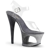 Zilver glitter 18 cm Pleaser MOON-708OMBRE paaldans schoenen met hoge hakken