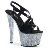Zilver glitter 18 cm Pleaser SKY-330LG paaldans schoenen met hoge hakken