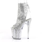 Zilver glitter 20 cm Pleaser FLAMINGO-1018G paaldans enkellaarsjes met hoge hakken