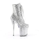 Zilver glitter 20 cm Pleaser FLAMINGO-1020G paaldans enkellaarsjes met hoge hakken