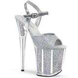 Zilver glitter 20 cm Pleaser FLAMINGO-810G paaldans schoenen met hoge hakken
