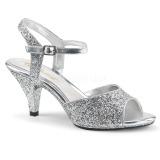 Zilver glitter 8 cm Fabulicious BELLE-309G sandalen met lage hak