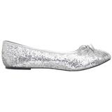 Zilver glitter STAR-16G dames ballerinas schoenen