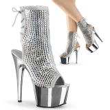 Zilver kristal steentjes 18 cm ADORE-1018DCS plateau dames enkellaarsjes
