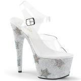 Zilver strass steentjes 18 cm ADORE-708STAR paaldans schoenen met hoge hakken