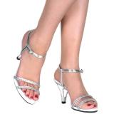 Zilver strass steentjes 8 cm BELLE-316 high heels schoenen voor travestie