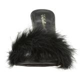 Zwart 10 cm CLASSIQUE-01F dames slippers met maraboe veren