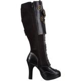 Zwart 10 cm CRYPTO-302 plateau laarzen dames met gespen