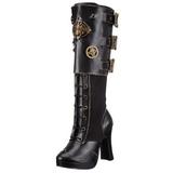 Zwart 10 cm CRYPTO-302 steampunk laarzen dames