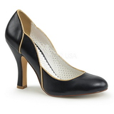 Zwart 10 cm SMITTEN-04 Pinup pumps schoenen met lage hakken