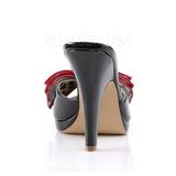 Zwart 10 cm retro vintage SIREN-06 Pinup mules schoenen met vlinderdas