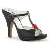 Zwart 10 cm retro vintage SIREN-09 Hoge Dames Slippers