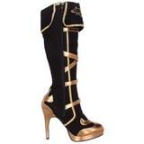 Zwart 11,5 cm ARENA-2012 barock laars dames met hoge hakken