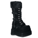 Zwart 11,5 cm BEAR-202 lolita laarzen gothic met dikke zolen