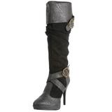 Zwart 11,5 cm CARRIBEAN-216 plateau laarzen dames met gespen