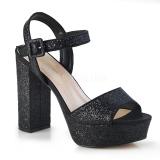 Zwart 11,5 cm CELESTE-09 glitter sandalen met blokhak
