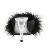 Zwart 11,5 cm FLAIR-401F maraboe veren Mules Schoenen