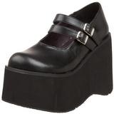 Zwart 11,5 cm KERA-08 lolita wedge schoenen met sleehak