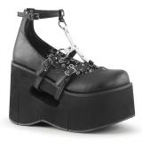 Zwart 11,5 cm KERA-09 lolita wedge schoenen met sleehak