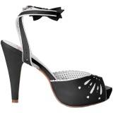 Zwart 11,5 cm Pinup retro vintage BETTIE-01 sandalen met hoge hakken