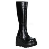 Zwart 11,5 cm SHAKER-100 lolita laarzen gothic met dikke zolen