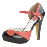 Zwart 11,5 cm retro vintage BETTIE-17 Pinup pumps schoenen met verborgen plateauzool