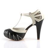 Zwart 11,5 cm retro vintage BETTIE-25 Pinup pumps schoenen met verborgen plateauzool