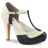 Zwart 11,5 cm retro vintage BETTIE-29 Pinup pumps schoenen met verborgen plateauzool