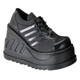 Zwart 12,5 cm STOMP-08 lolita wedge schoenen met sleehak