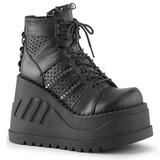 Zwart 12 cm STOMP-12 lolita wedge schoenen met sleehak