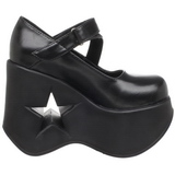 Zwart 13,5 cm DYNAMITE-03 lolita wedge schoenen met sleehak