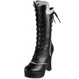 Zwart 13 cm COURTESS-1025 dames veterlaarzen met hakken extrem