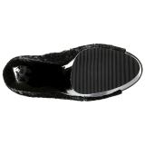 Zwart 15 cm DELIGHT-1008SQ dames enkellaarsjes met pailletten