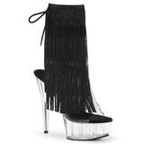 Zwart 15 cm DELIGHT-1017TF dames enkellaarsjes met franjes