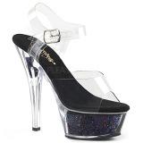 Zwart 15 cm KISS-208GF glitter plateau sandalen met hak