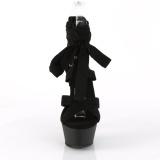 Zwart 15 cm KISS-274 lange kniehoge gladiator sandalen dames