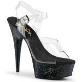 Zwart 15 cm Pleaser DELIGHT-608MG glitter schoenen met hakken