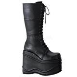 Zwart 15 cm WAVE-302 lolita laarzen gothic met dikke zolen