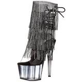 Zwart 18 cm ADORE-1017RSFT dames enkellaarsjes met franjes