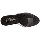 Zwart 18 cm ADORE-701LG glitter plateau slippers dames met hak