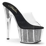 Zwart 18 cm ADORE-701SRS Strass steentjes plateau slippers dames