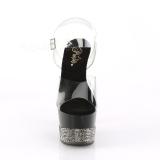 Zwart 18 cm ADORE-708-3 glitter plateau schoenen met hakken