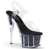 Zwart 18 cm ADORE-708CG glitter plateau schoenen dames met hak